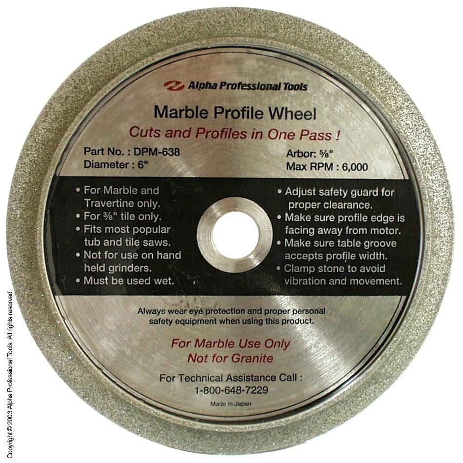 Alpha Professional Tools 6 Profile Wheel 3 8 Half Bullnose 5 8 Arbor For Marble Eastern Marble Granite Supply