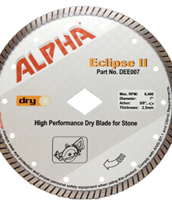 """ALPHA PROFESSIONAL TOOLS ECLIPSE II BLADES DIAMETER ARBOR SIZE: 7/8"""" - 5/8"""" - DIAMOND BORE MAXIMUM RPM'S: 10,100"""
